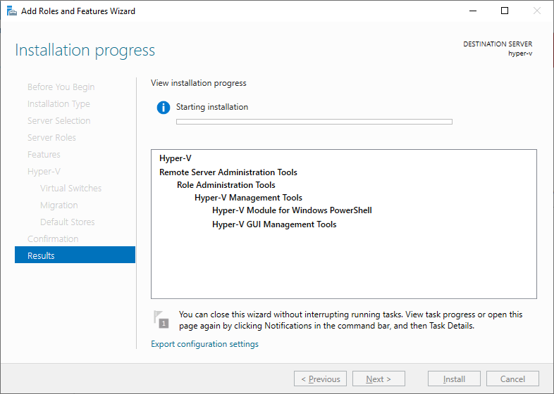 Role do Hyper-V no Windows Server 2019