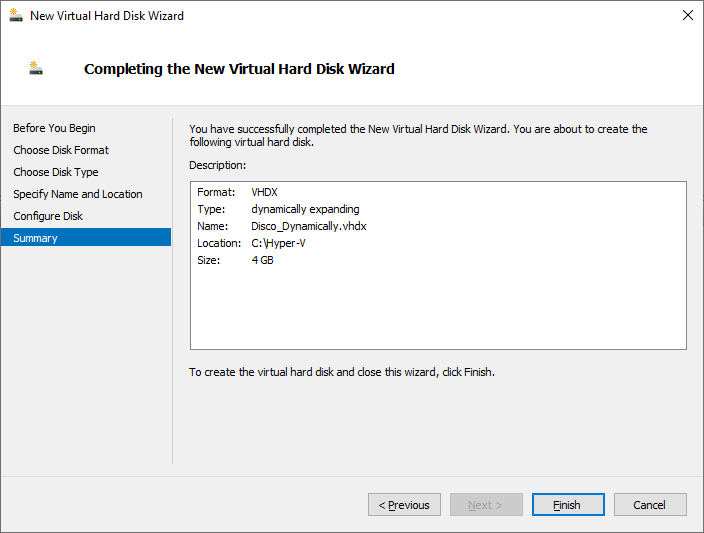 "Criando um disco ""Dynamically"" no Hyper-V Server 2019"
