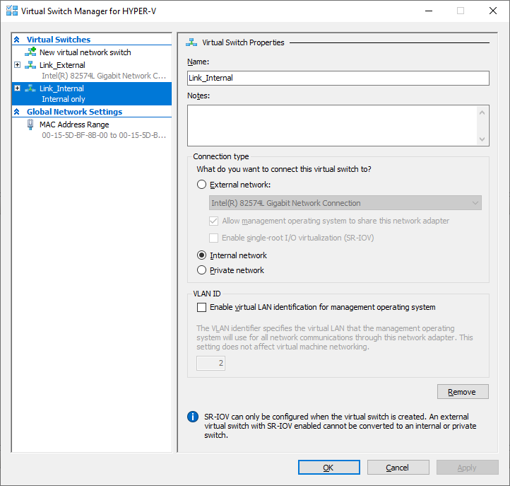 Criando um Virtual Switch Internal no Hyper-V 2019